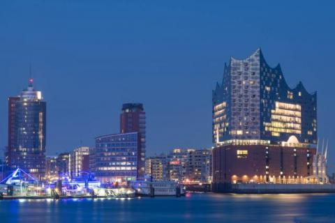 Marina and Elbphilharmonie in Hamburg at the blue hour