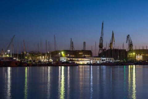 Blue hour in the port of Zadar