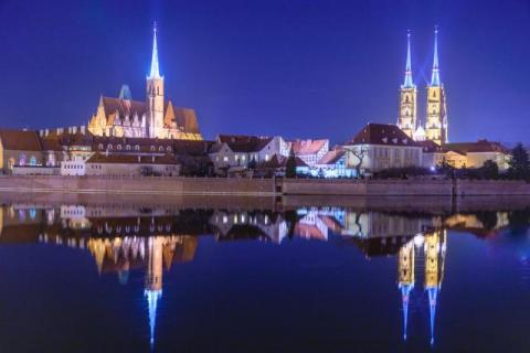 Blue hour over the cathedral island on the Oder in Wroclaw
