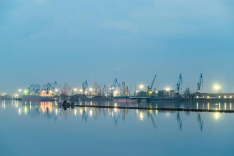 Blue hour at the port of Riga