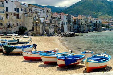 Boats on the beach in Cefalu